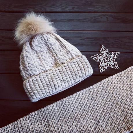 Комплект: теплая вязаная шапка с флисом и шарф цвет бежевый