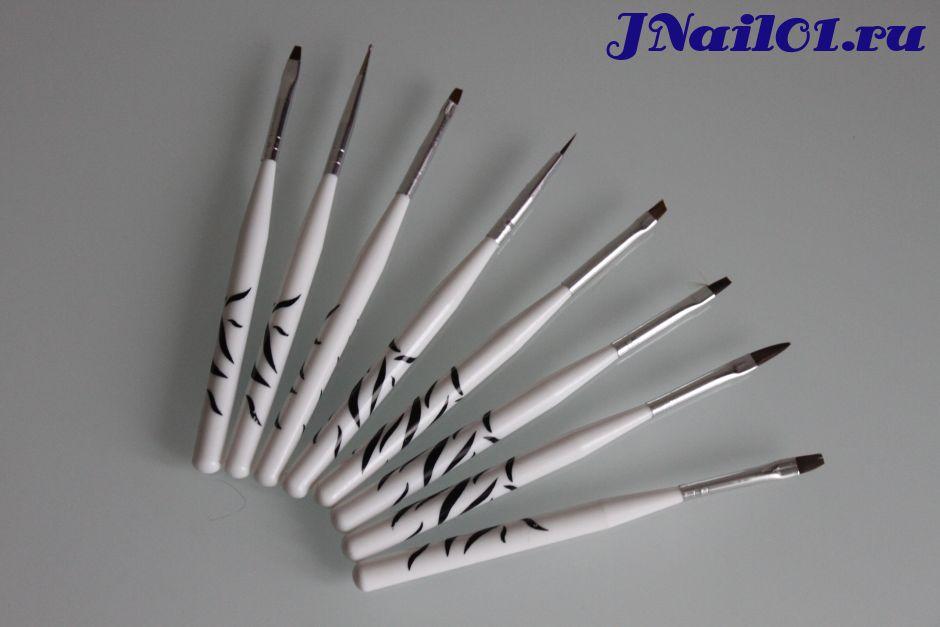 Набор кистей для наращивания и росписи ногтей
