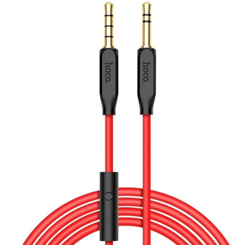Аудиокабель AUX Jack 3.5mm-Jack 3.5mm с микрофоном Hoco UPA12, черный