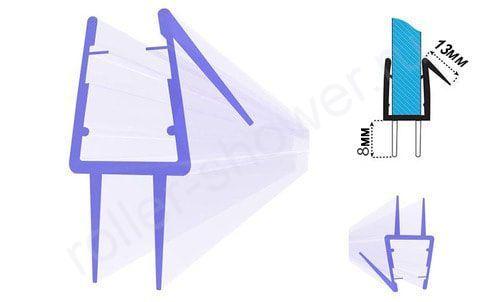 Уплотнитель-C13 для душевых кабин, толщина стекла (4,5,6,8мм) длина 2 метра