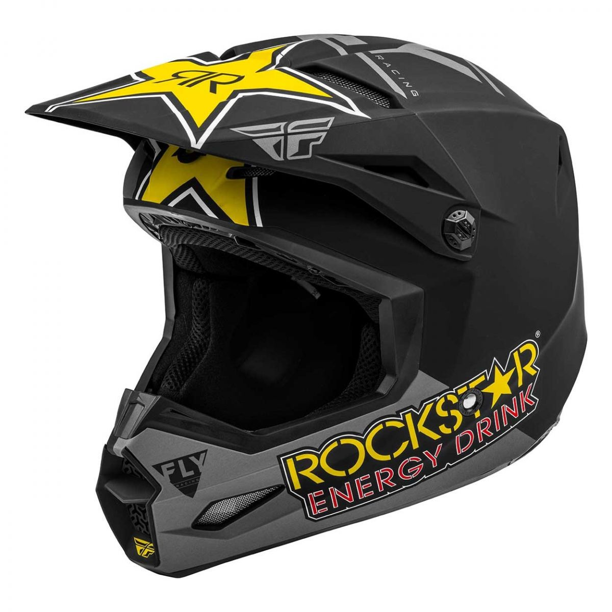 Fly Racing 2021 Kinetic Rockstar Matte Black/Grey/Yellow шлем внедорожный