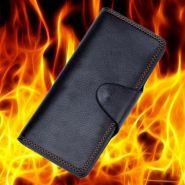 Огненный кошелёк (кожаный) (9*19 см) черный