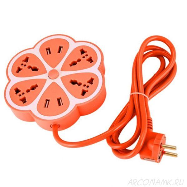 Многофункциональный сетевой USB удлинитель Цветок, Цвет: Оранжевый