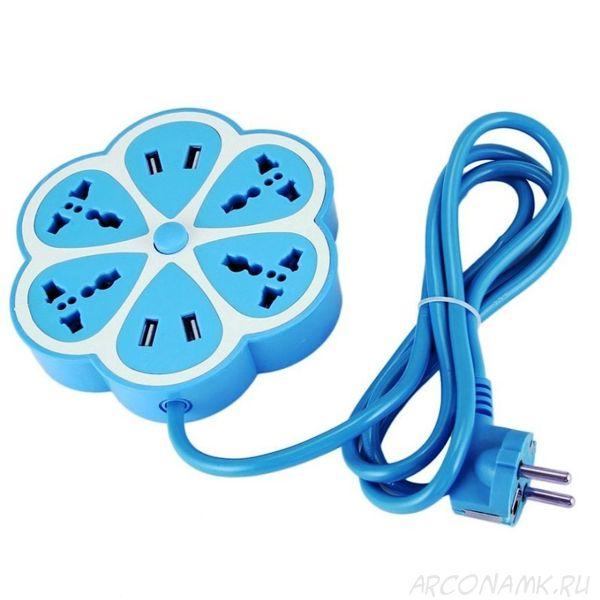 Многофункциональный сетевой USB удлинитель Цветок, Цвет: Синий
