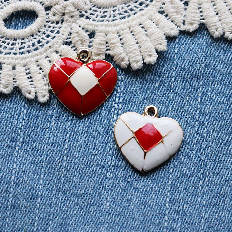 Подвески металлические с эмалью, Сердце в клеточку, 15*19 мм, 1шт