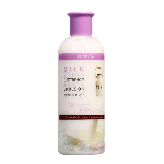 FarmStay Осветляющая эмульсия с молочными протеинами Milk Visible Difference White Emulsion, 350 мл
