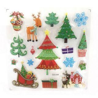 Новогодние наклейки на окна Room Decor, 26х21 см, Новогодние елки