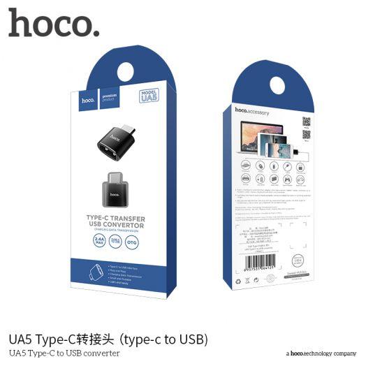 Переходник Type-C-USB Hoco UA5, черный