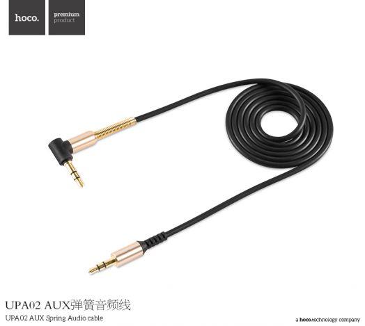 Аудиокабель AUX Jack 3.5mm-Jack 3.5mm Hoco UPA02 AUX Spring, угловой, черный