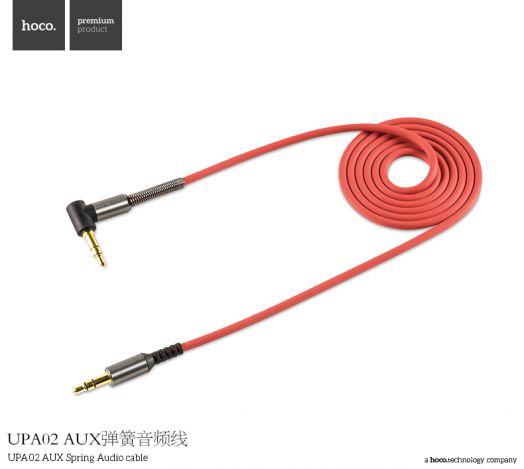 Аудиокабель AUX Jack 3.5mm-Jack 3.5mm Hoco UPA02 AUX Spring, угловой, красный