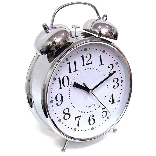 Часы Будильник ГИГАНТ никелированные с подсветкой