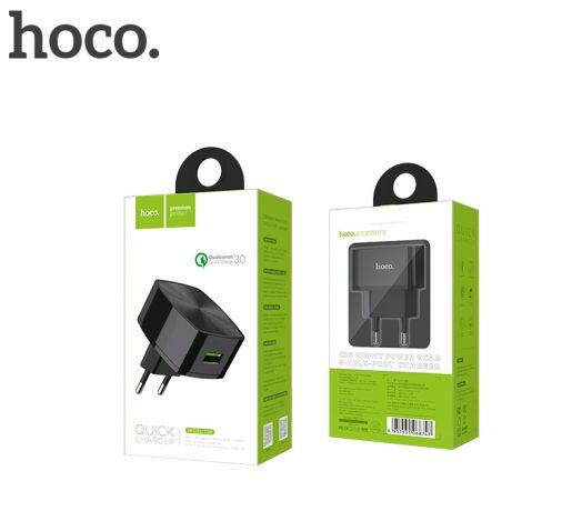 Сетевое зарядное устройство Hoco C26 Mighty power, Quick Charge 3.0, 1xUSB, черный (БЫСТРАЯ ЗАРЯДКА!!!)