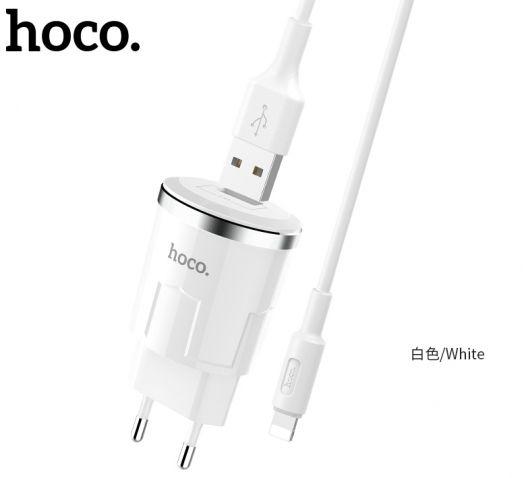 Сетевое зарядное устройство Hoco C37A Thunder power, 1xUSB + кабель USB-lightning, белый