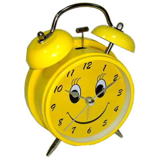 Часы будильник D-11,6 см Смайл жёлтый