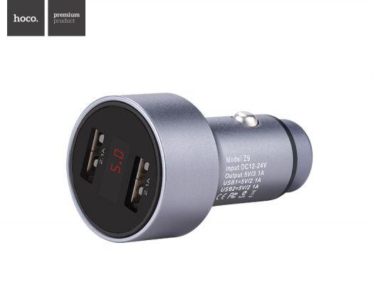 Автомобильное зарядное устройство Hoco Z9 Kingkong, 2xUSB, Вольтметр, серый