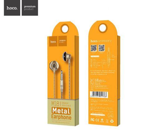 Наушники с гарнитурой Hoco M18 Gesi Metallic, золотистый
