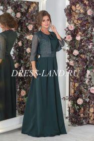 Зеленое платье в пол с болеро