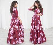 Красное платье в пол с цветочным принтом и длинными рукавами