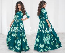 Зеленое платье в пол с цветочным принтом и длинными рукавами