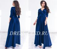 Темно-синее шелковое платье в пол с длинными рукавами