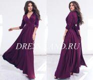 Бордовое шелковое платье в пол с длинными рукавами