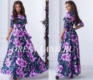 Фиолетовое платье макси с цветочным принтом