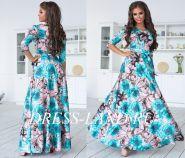 Бирюзовое платье макси с цветочным принтом