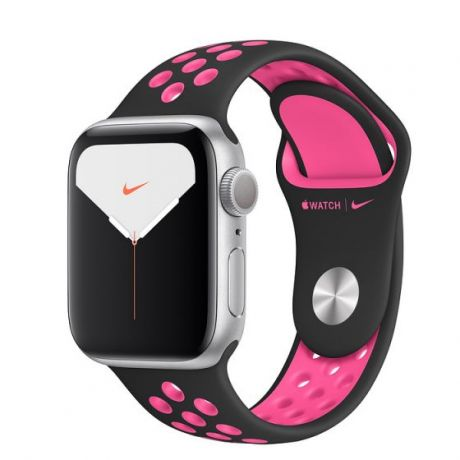Apple Watch Nike Series 5 Silver Aluminum Case 40mm GPS Black/Pink Blast with Nike Sport Band
