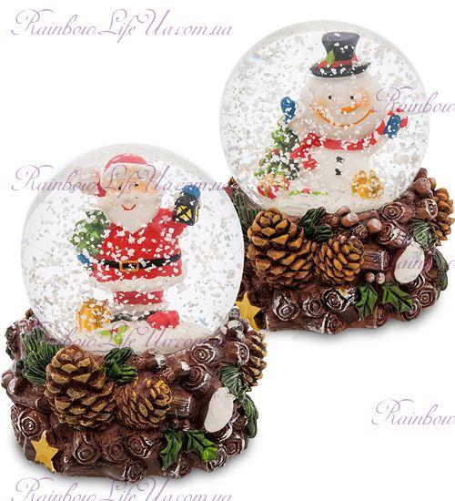 """Шар - шишки со снегом """"Санта и снеговик"""""""