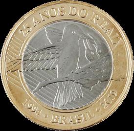 25 лет введения реала (Колибри) 1 реал Бразилия 2019