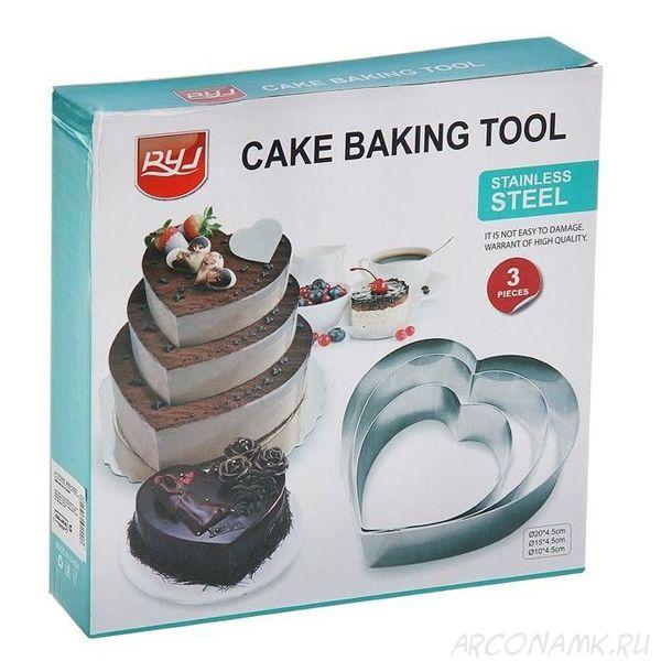 Набор колец для выпечки Cake Baking Tool, 3 шт., Форма: Сердце