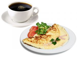 Омлет с ветчиной и сыром 140г, Тост и кофе американо 200мл