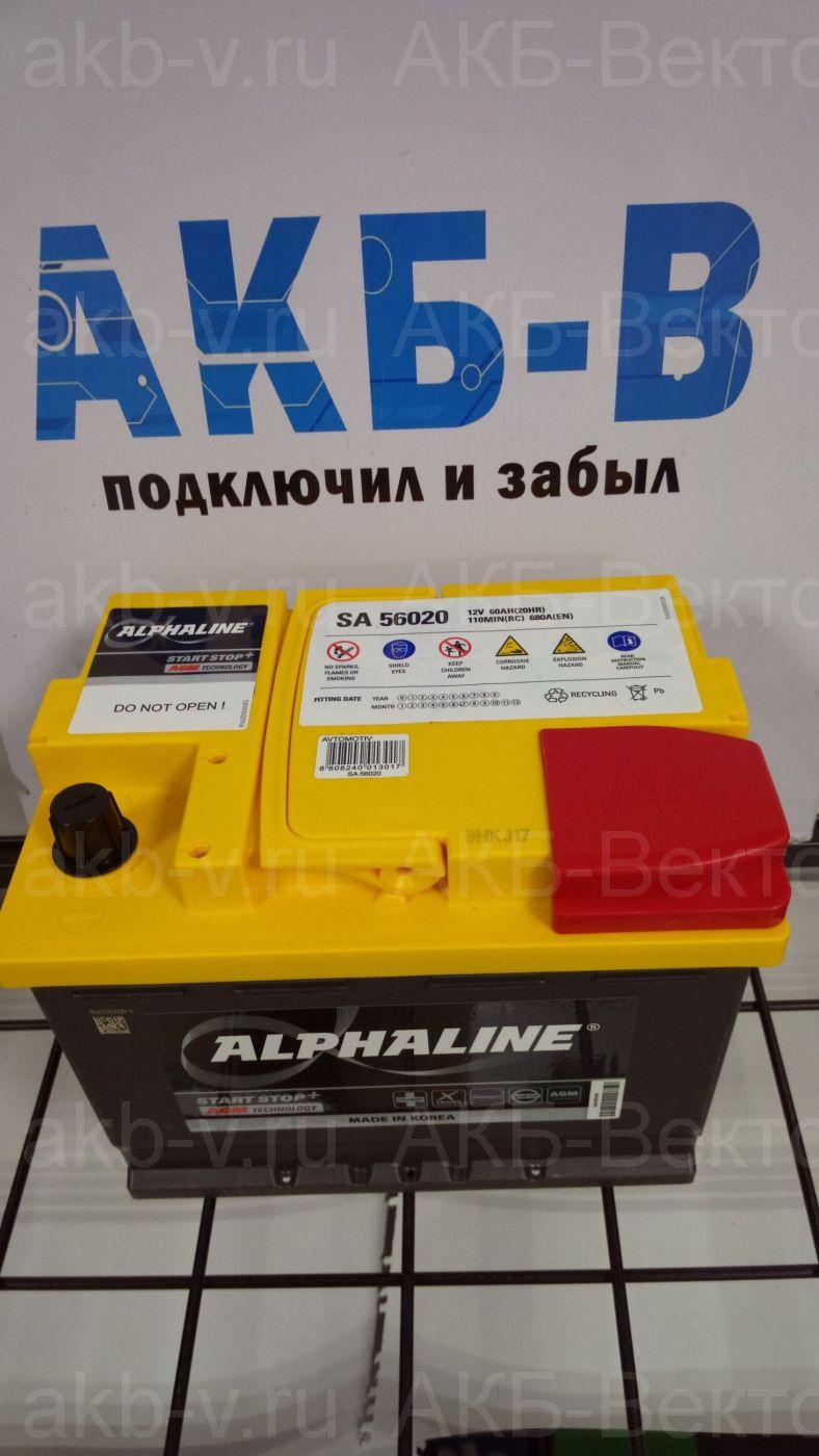 Аккумулятор Alphaline AGM 60Ач 680А(EN)  L2 (SA 56020) 2021г