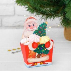 """Коробка для букета """"С новым годом"""" дед мороз 1"""