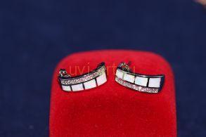 Позолоченные серьги с искусственными бриллиантами и опалами (арт. 800233)