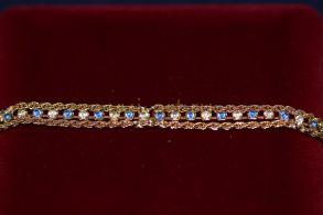 Позолоченный браслет с искусственными сапфирами и бриллиантами (арт. 800235)