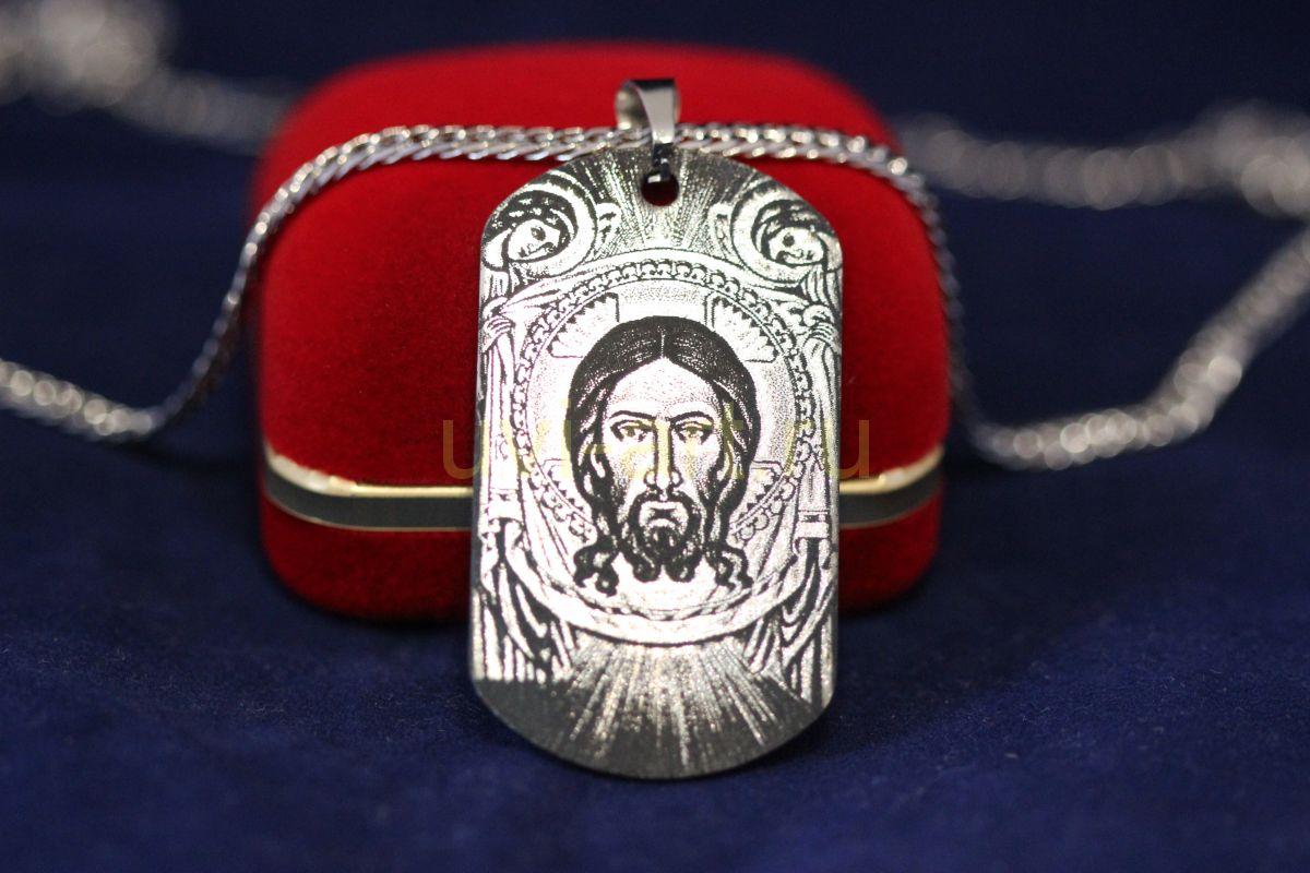 """Стальной медальон """"Иисус"""" с гравировкой в комплекте с цепочкой (арт. 800236)"""