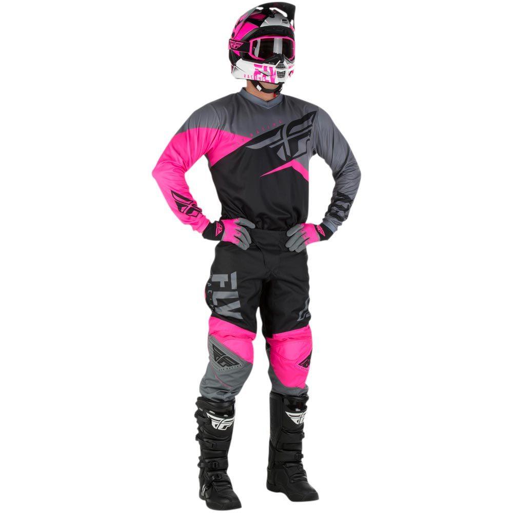 Fly - 2019 F-16 Neon Pink/Black/Grey комплект джерси и штаны, розово-черно-серые