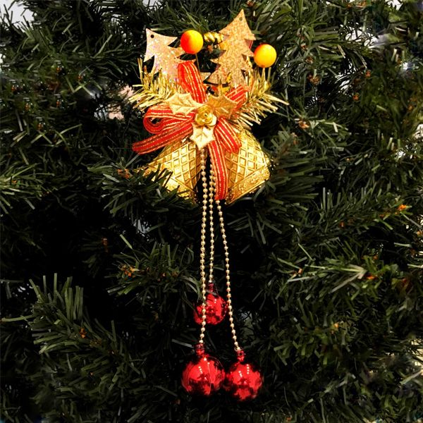 Елочное украшение Золотые колокольчики с красными бубенчиками, 1 шт