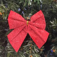 Новогоднее украшение Блестящие бантики, 3 шт, цвет красный (1)