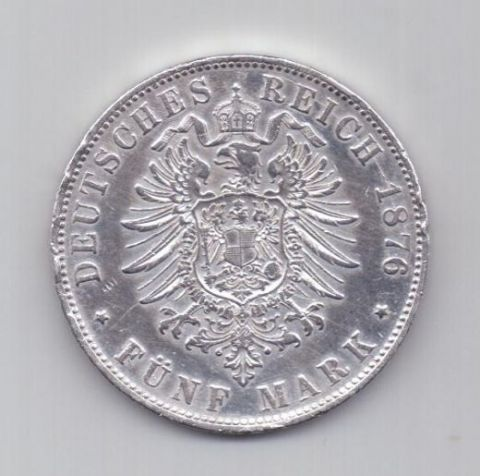5 марок 1876 года Бавария Германия
