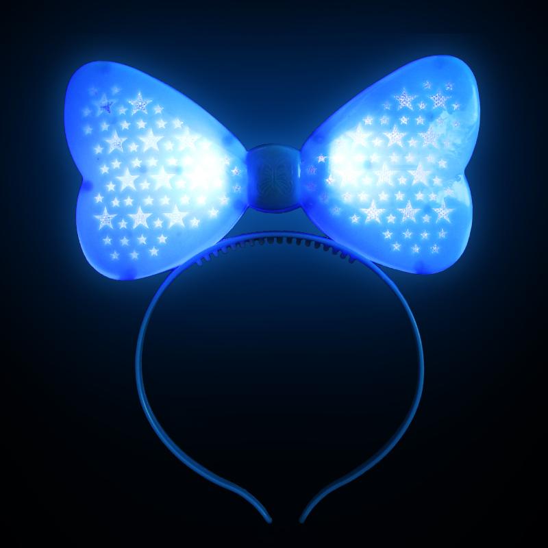 Светящийся Ободок Бант, Цвет Голубой