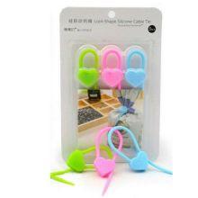 Силиконовый хомут Lock-Shape Silicone Cable Tie, 3 шт, Форма: Сердечко