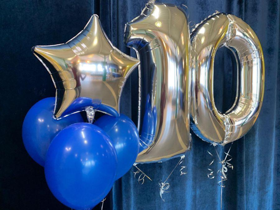 Цифры фольгированные 10 с шариками