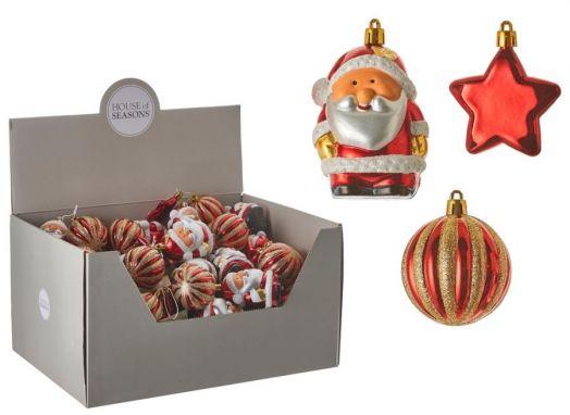 Нaбoр плacтикoвых игрушек Санта/Звезда/Шар 9*3,5 красный дисплей
