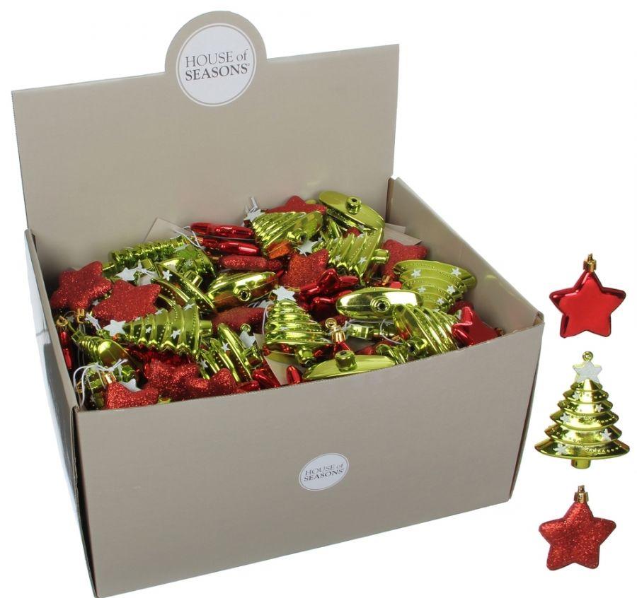 Нaбoр плacтикoвых игрушек Звезда/Дерево 7,5*1*9 см красный/зеленый дисплей