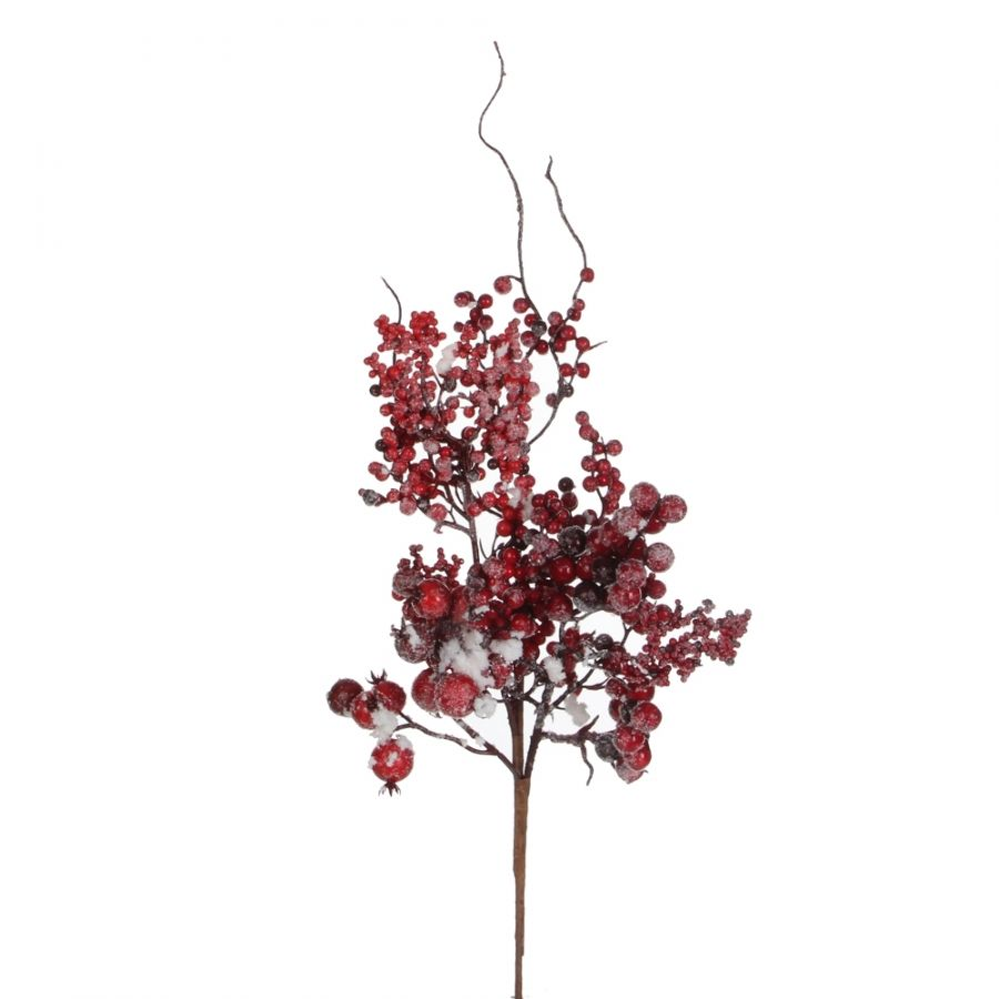 Веточка с ягодами 43 см красная в снегу