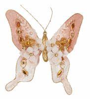 Бабочка розовая 18*18 см клипса