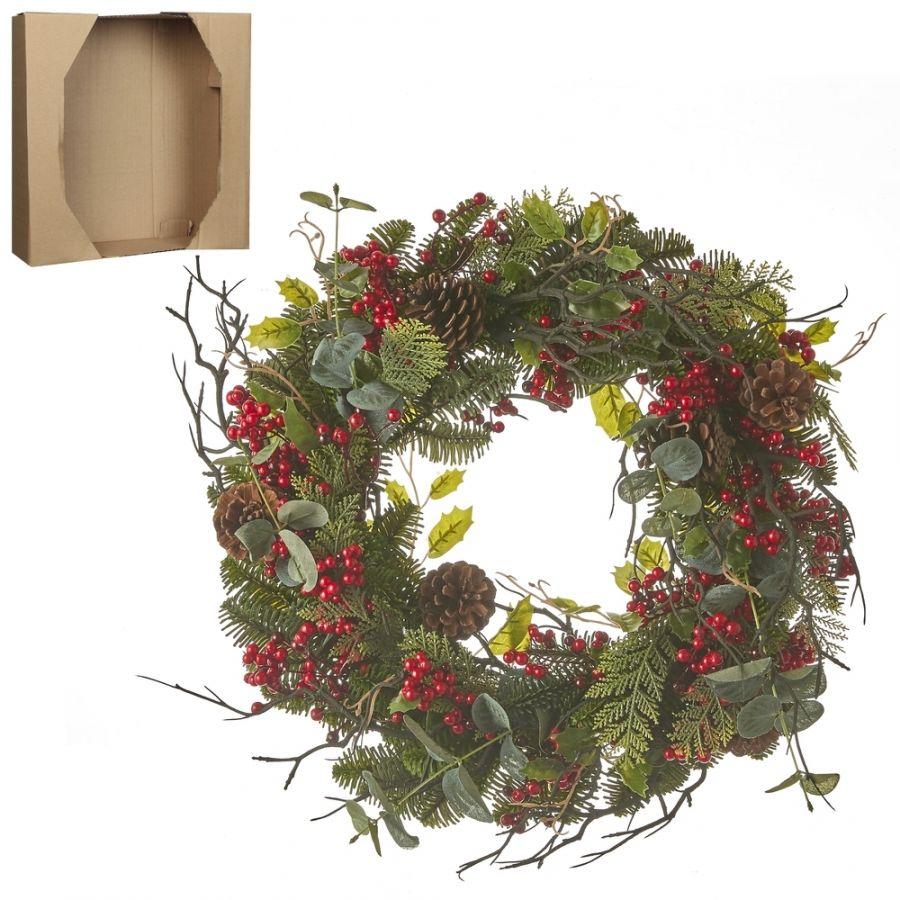 Венок украшенный с ягодами 10*50см зеленый