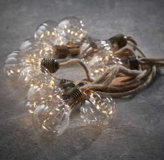 Гирлянда ретро на бечевке с 10 рифлеными лампочками
